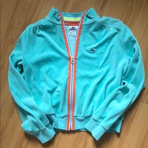 Lacoste sz sm blue/green velour zip up hoodie